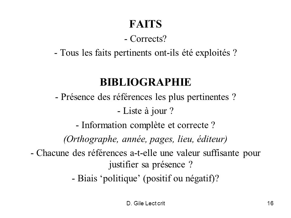 FAITS BIBLIOGRAPHIE - Corrects
