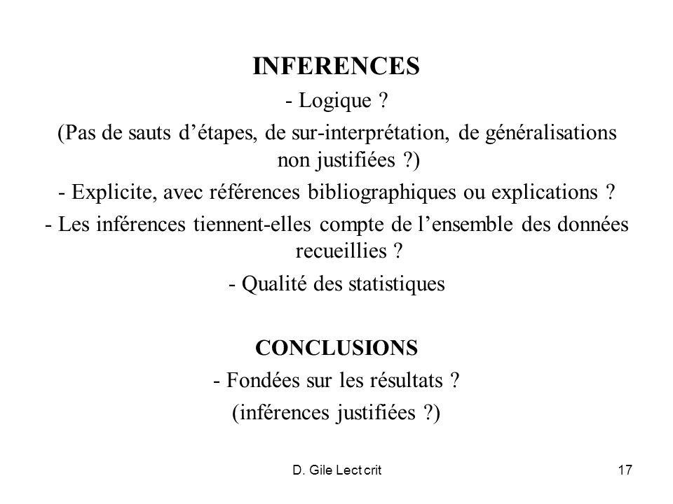 INFERENCES - Logique (Pas de sauts d'étapes, de sur-interprétation, de généralisations non justifiées )
