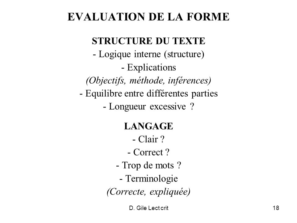 EVALUATION DE LA FORME STRUCTURE DU TEXTE