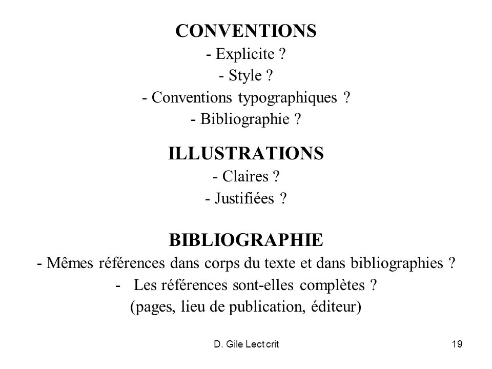 CONVENTIONS ILLUSTRATIONS BIBLIOGRAPHIE - Explicite - Style