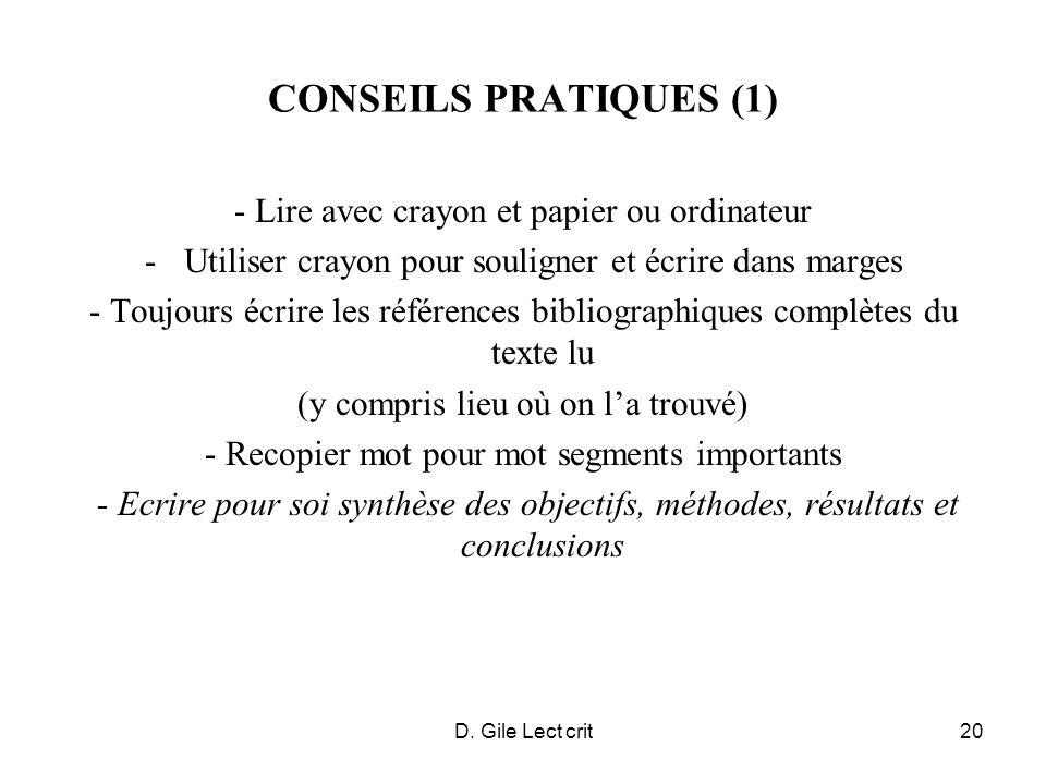 CONSEILS PRATIQUES (1) - Lire avec crayon et papier ou ordinateur