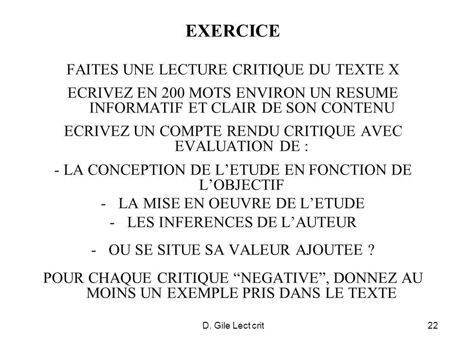 EXERCICE FAITES UNE LECTURE CRITIQUE DU TEXTE X