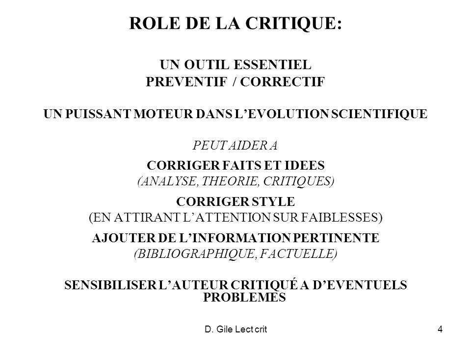 ROLE DE LA CRITIQUE: UN OUTIL ESSENTIEL PREVENTIF / CORRECTIF