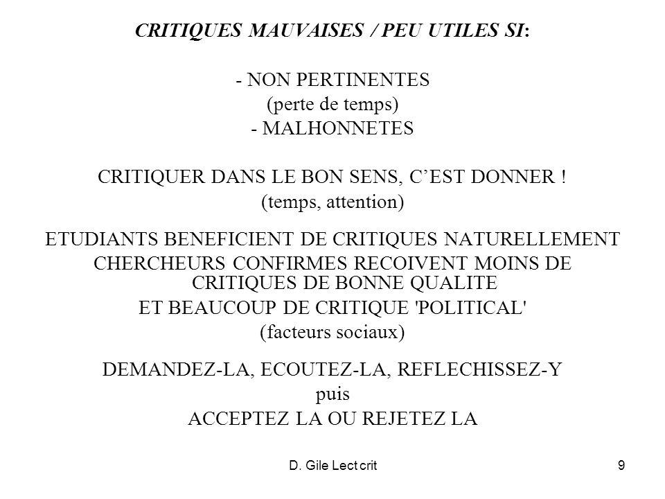 CRITIQUES MAUVAISES / PEU UTILES SI: