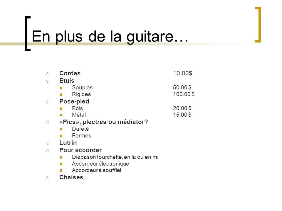 En plus de la guitare… Cordes 10.00$ Etuis Pose-pied