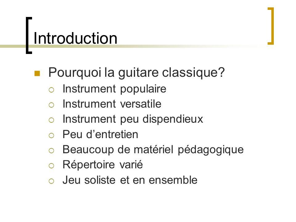 Introduction Pourquoi la guitare classique Instrument populaire