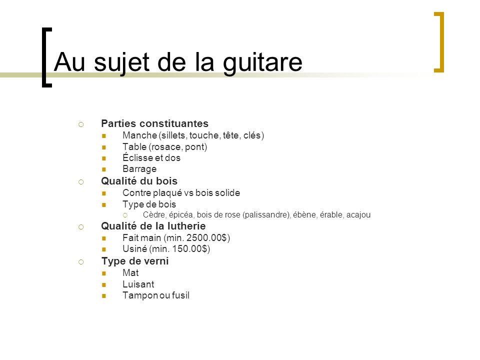 Au sujet de la guitare Parties constituantes Qualité du bois