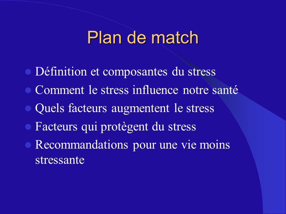 Plan de match Définition et composantes du stress