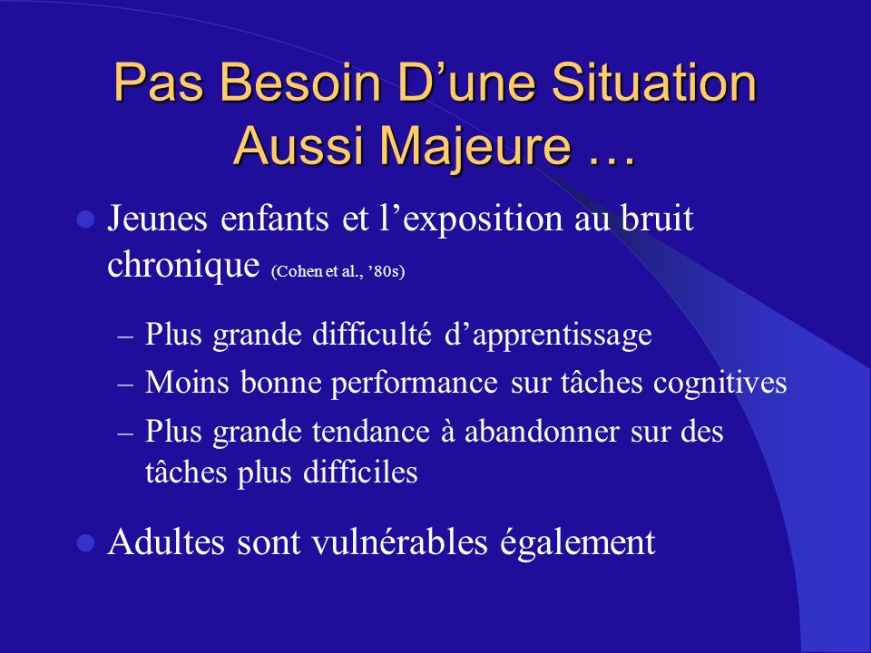 Pas Besoin D'une Situation Aussi Majeure …