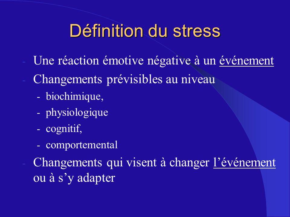 Définition du stress Une réaction émotive négative à un événement