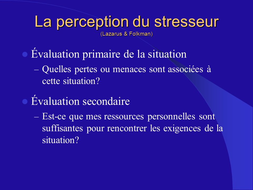 La perception du stresseur (Lazarus & Folkman)