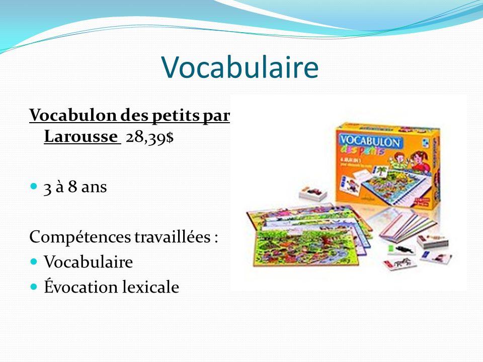 Vocabulaire Vocabulon des petits par Larousse 28,39$ 3 à 8 ans