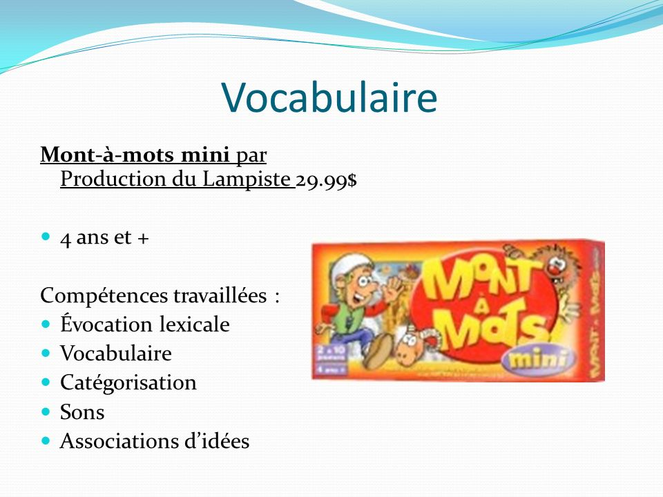 Vocabulaire Mont-à-mots mini par Production du Lampiste 29.99$
