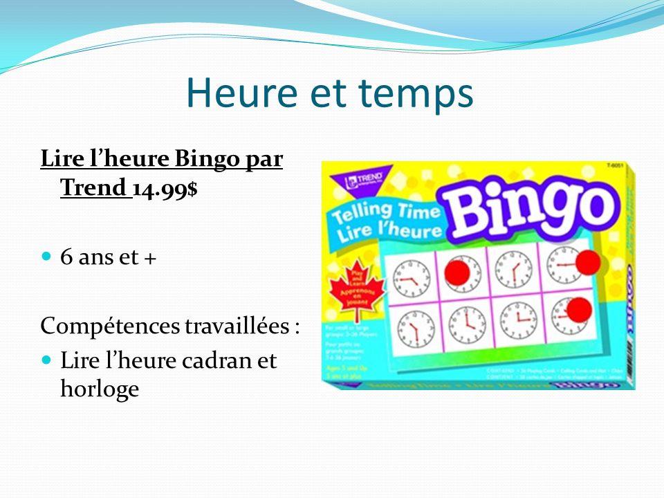 Heure et temps Lire l'heure Bingo par Trend 14.99$ 6 ans et +