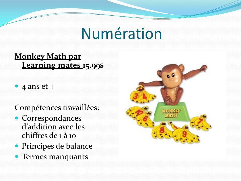 Numération Monkey Math par Learning mates 15.99$ 4 ans et +