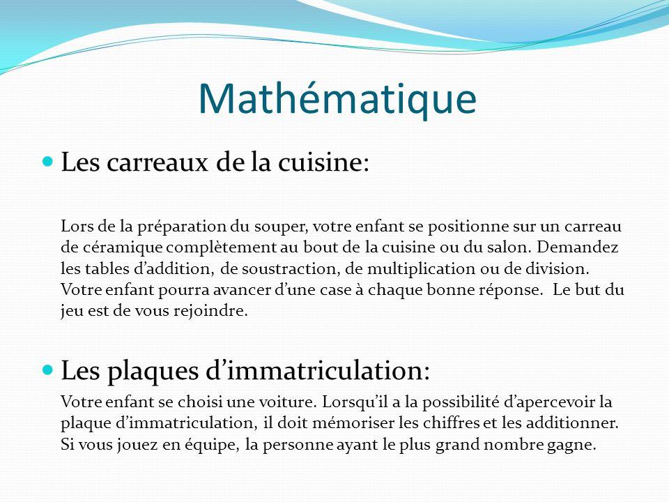 Mathématique Les carreaux de la cuisine:
