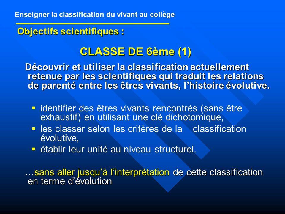 CLASSE DE 6ème (1) Objectifs scientifiques :