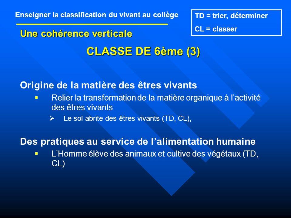 CLASSE DE 6ème (3) Une cohérence verticale