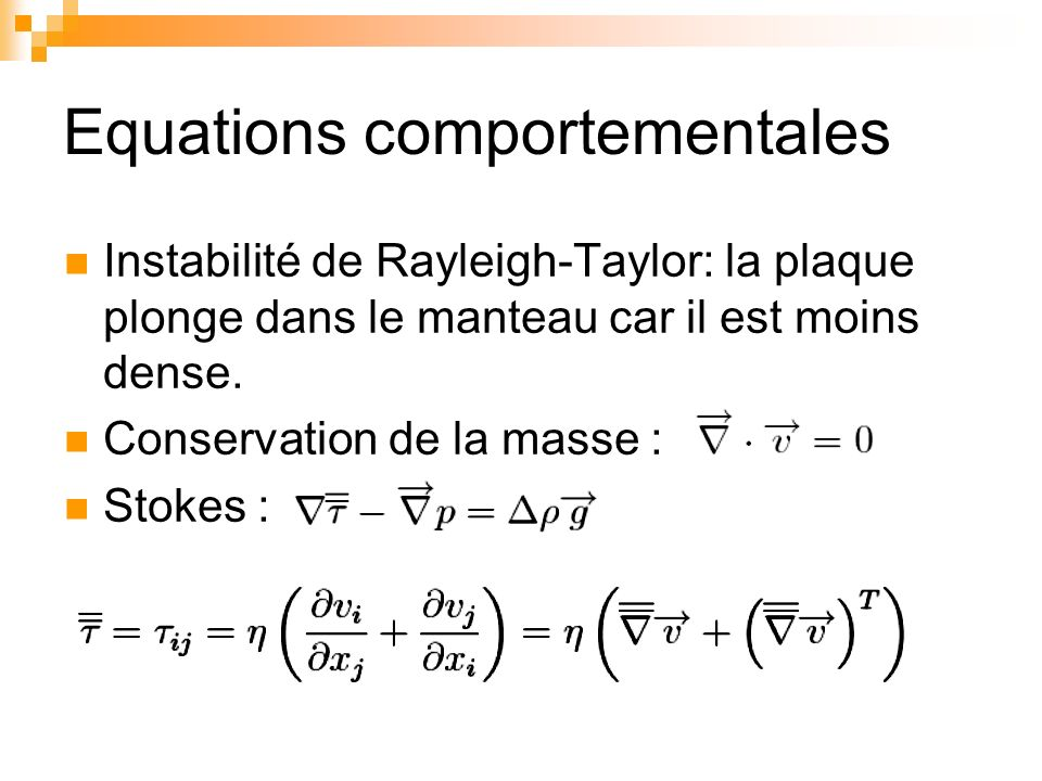 Equations comportementales