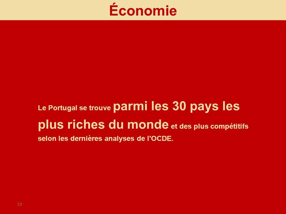 Économie Le Portugal se trouve parmi les 30 pays les plus riches du monde et des plus compétitifs selon les dernières analyses de l OCDE.
