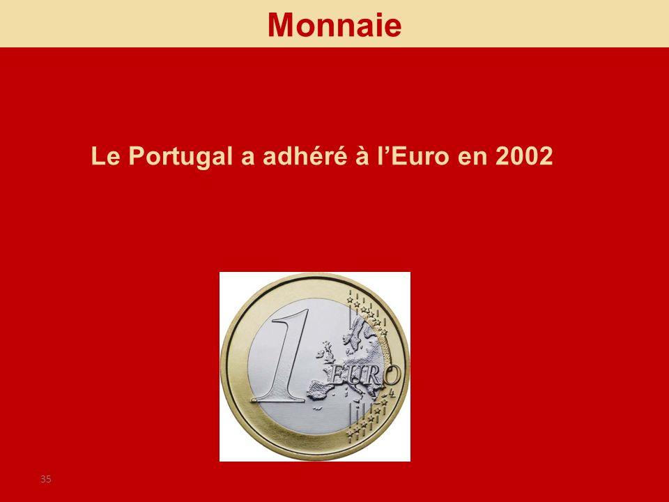 Monnaie Le Portugal a adhéré à l'Euro en 2002