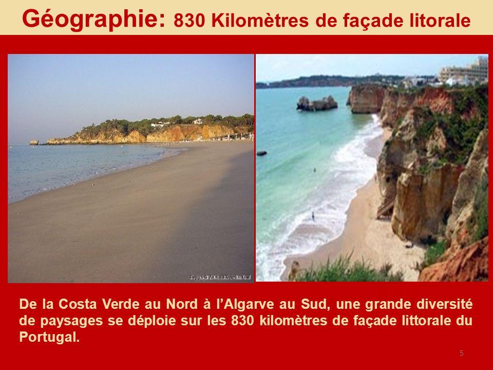 Géographie: 830 Kilomètres de façade litorale