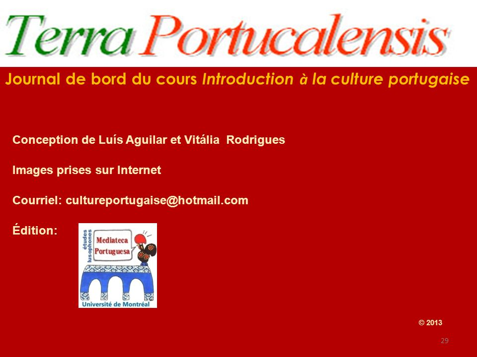 Journal de bord du cours Introduction à la culture portugaise