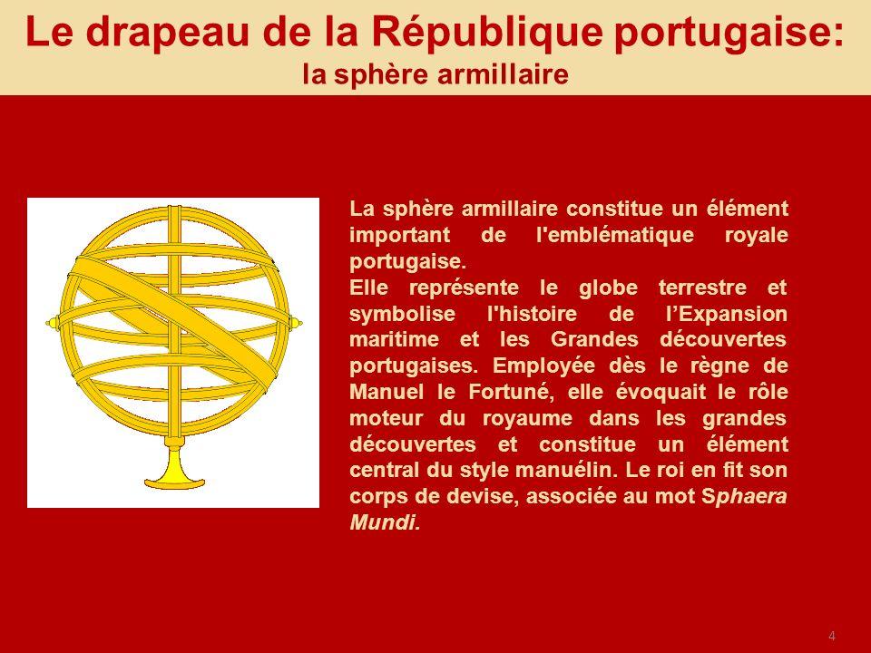 Le drapeau de la République portugaise: la sphère armillaire