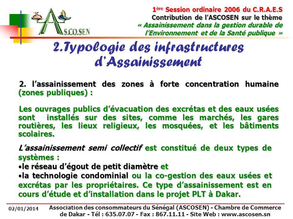 2. Typologie des infrastructures d'Assainissement