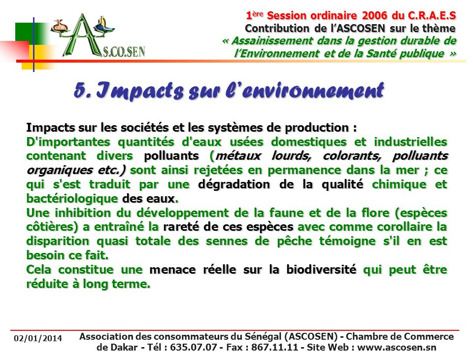 5. Impacts sur l'environnement