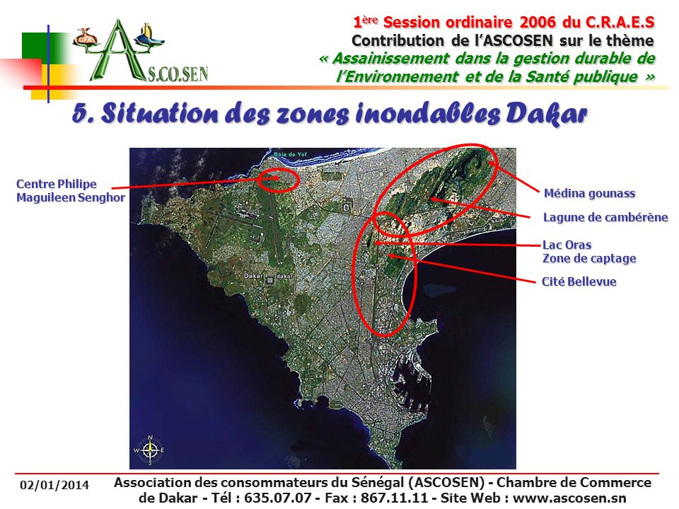 5. Situation des zones inondables Dakar
