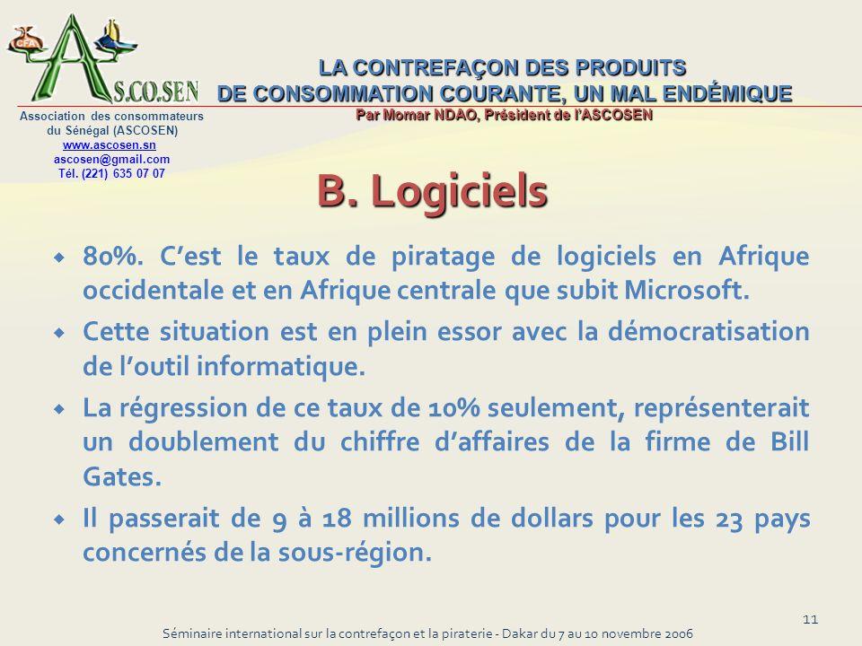 B. Logiciels80%. C'est le taux de piratage de logiciels en Afrique occidentale et en Afrique centrale que subit Microsoft.