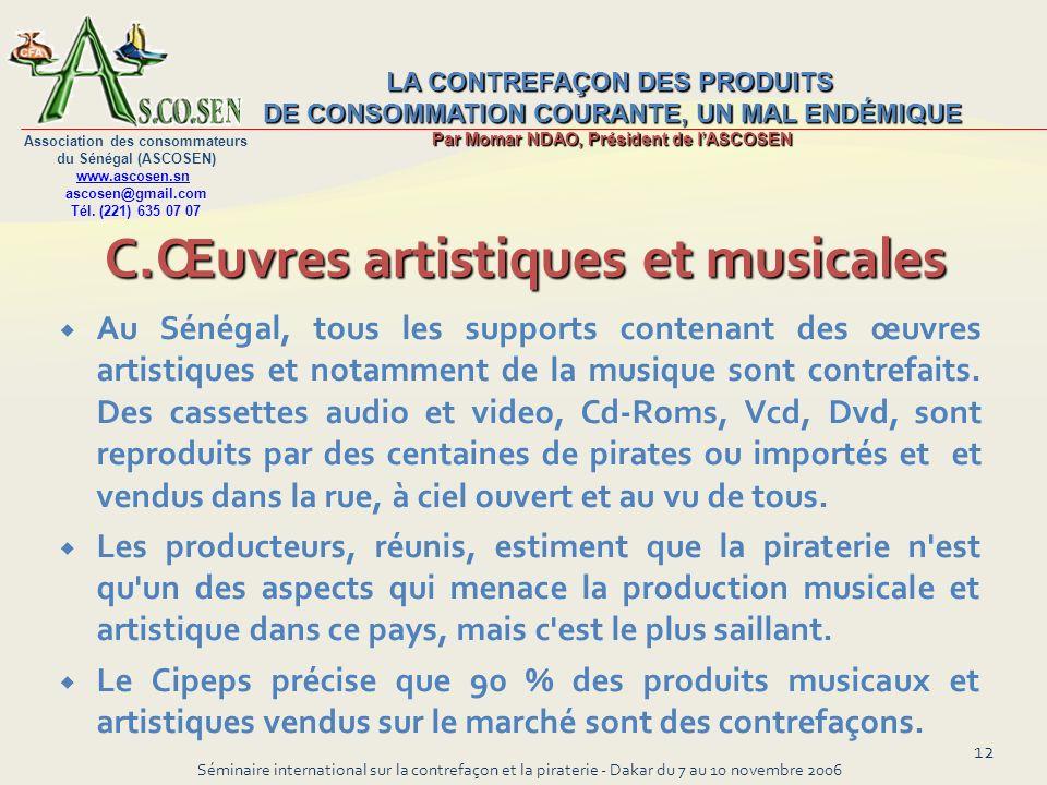 C.Œuvres artistiques et musicales