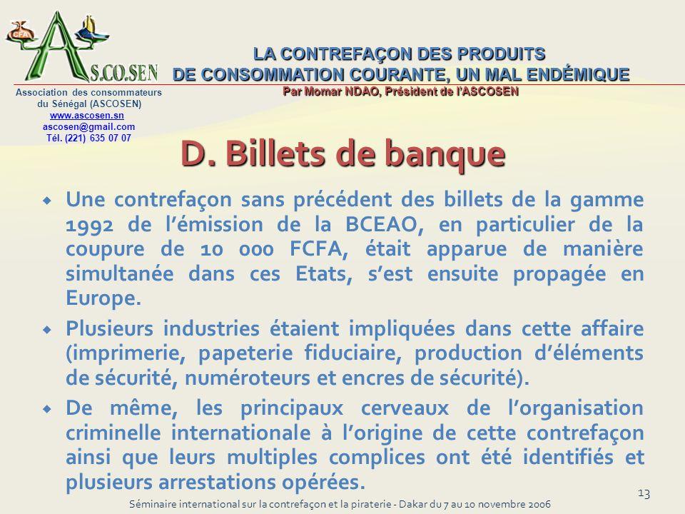 D. Billets de banque