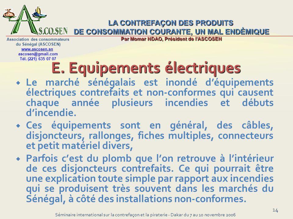 E. Equipements électriques