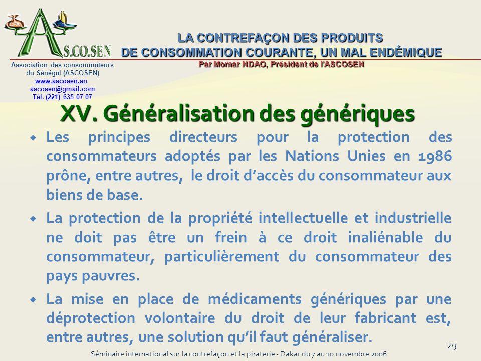 XV. Généralisation des génériques