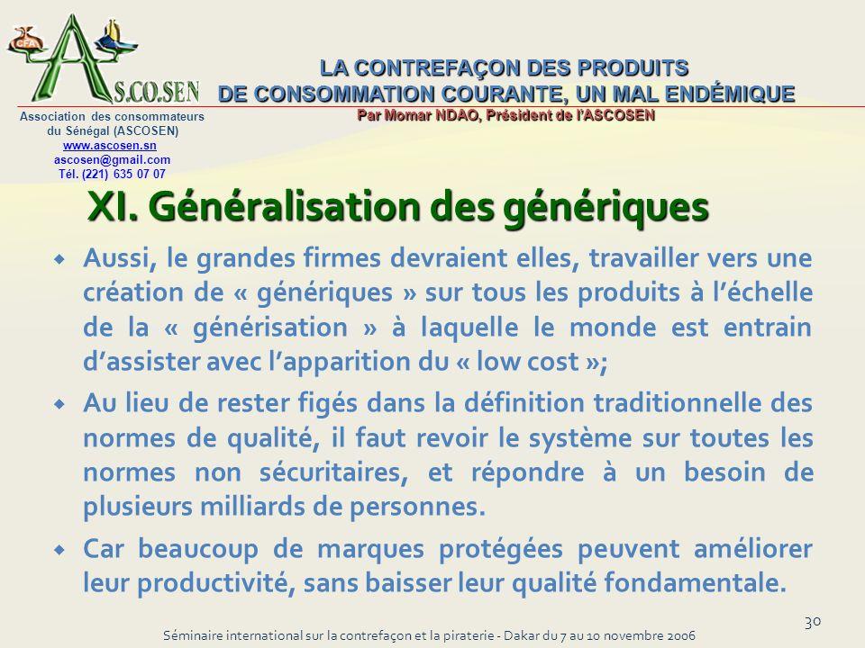 XI. Généralisation des génériques