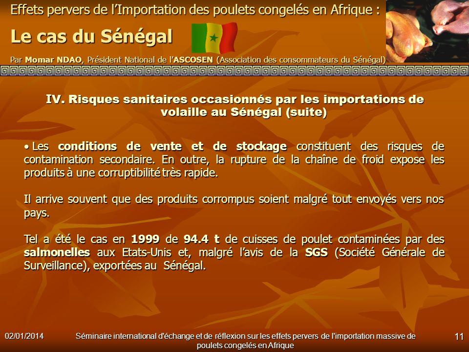 IV. Risques sanitaires occasionnés par les importations de volaille au Sénégal (suite)