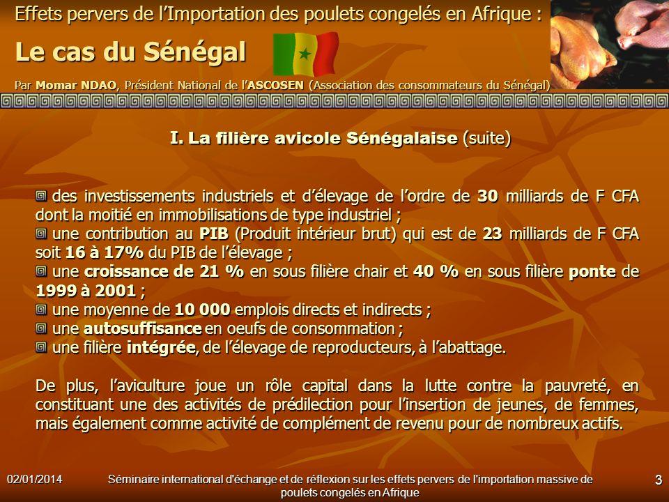 I. La filière avicole Sénégalaise (suite)