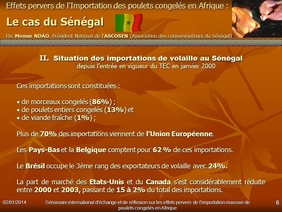 II. Situation des importations de volaille au Sénégal depuis l'entrée en vigueur du TEC en janvier 2000