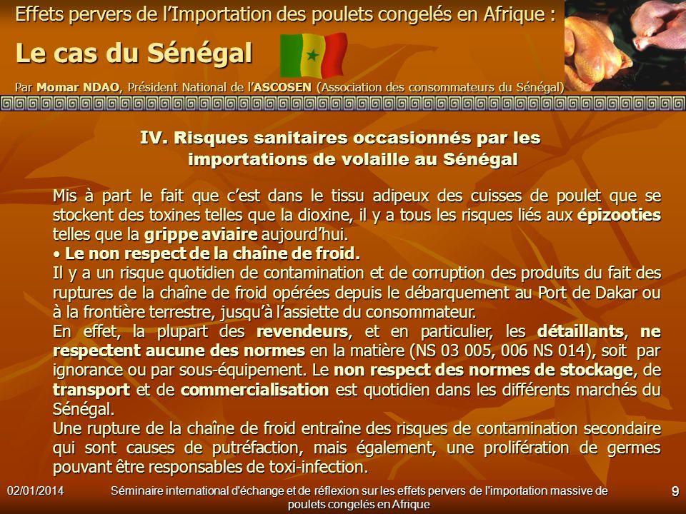 IV. Risques sanitaires occasionnés par les importations de volaille au Sénégal
