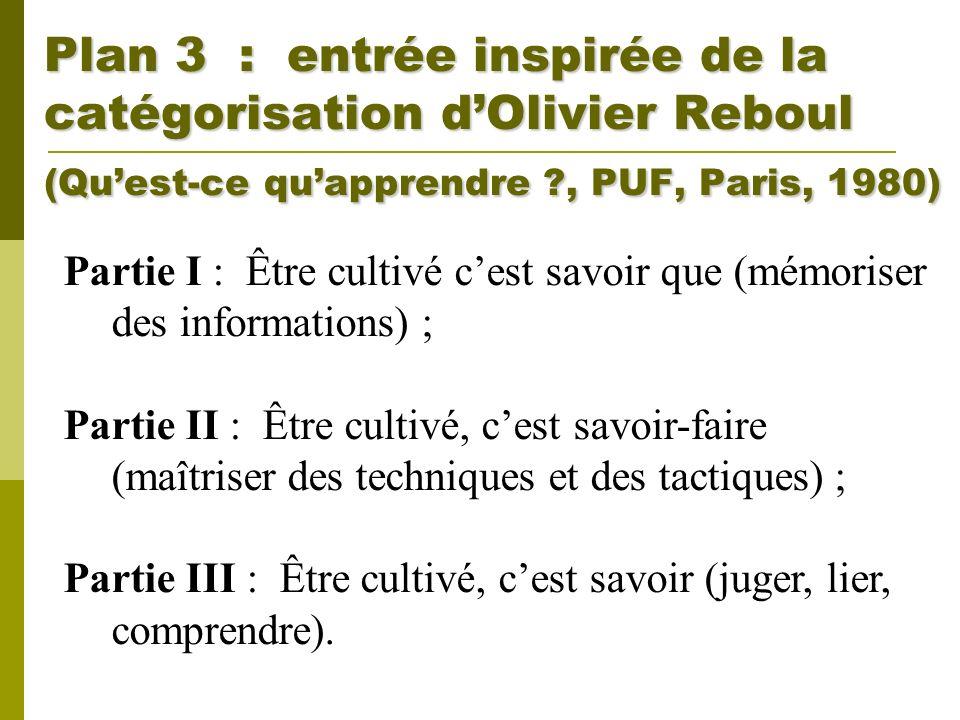 Plan 3 : entrée inspirée de la catégorisation d'Olivier Reboul (Qu'est-ce qu'apprendre , PUF, Paris, 1980)