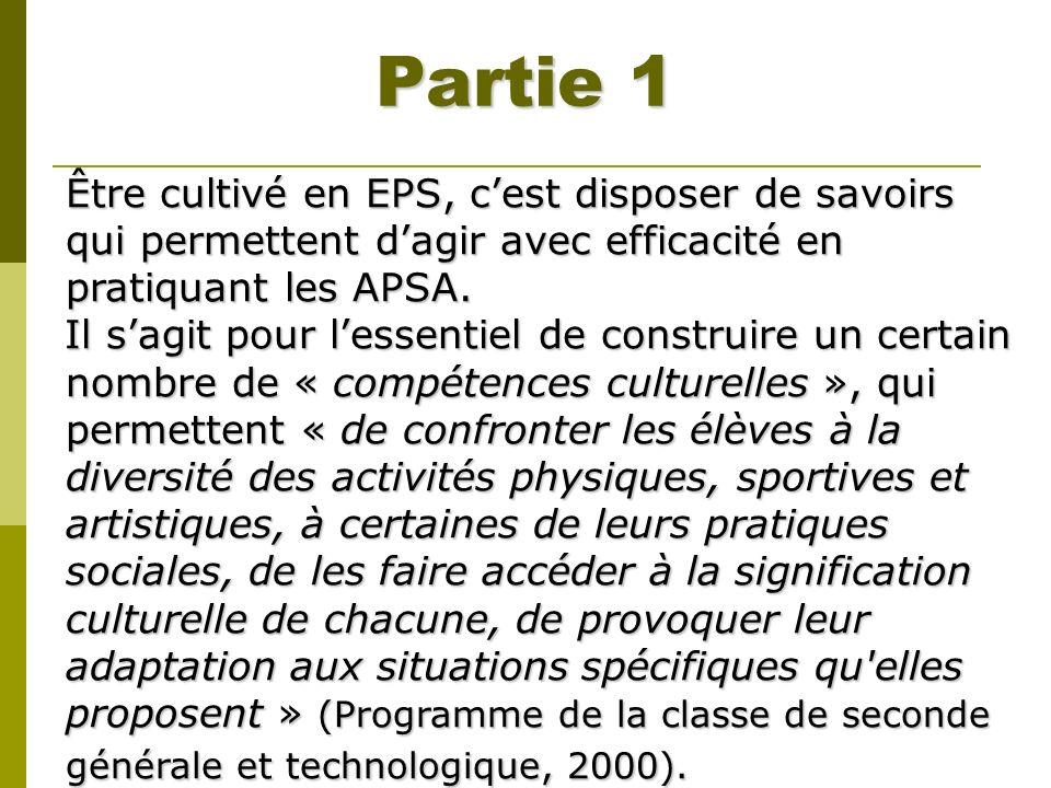 Partie 1 Être cultivé en EPS, c'est disposer de savoirs qui permettent d'agir avec efficacité en pratiquant les APSA.