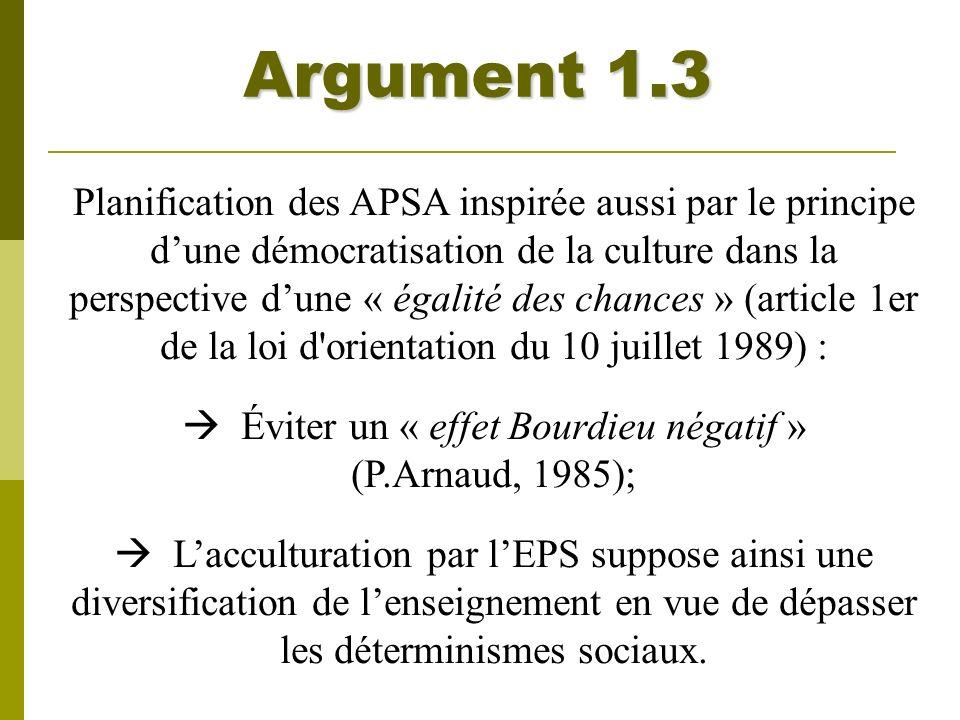 Argument 1.3 Planification des APSA inspirée aussi par le principe