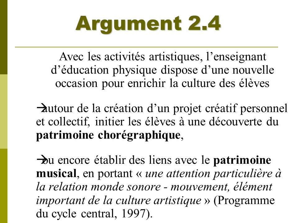 Argument 2.4 Avec les activités artistiques, l'enseignant d'éducation physique dispose d'une nouvelle occasion pour enrichir la culture des élèves.