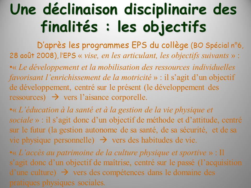 Une déclinaison disciplinaire des finalités : les objectifs