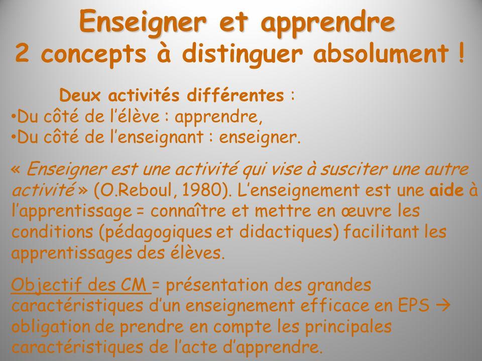 Enseigner et apprendre 2 concepts à distinguer absolument !