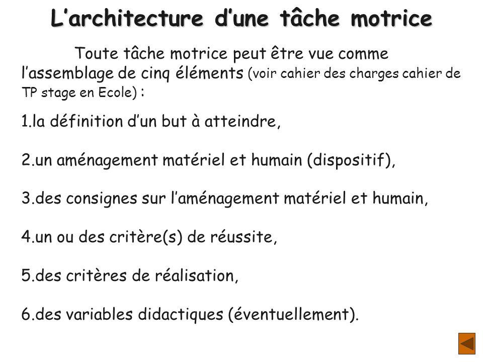 L'architecture d'une tâche motrice
