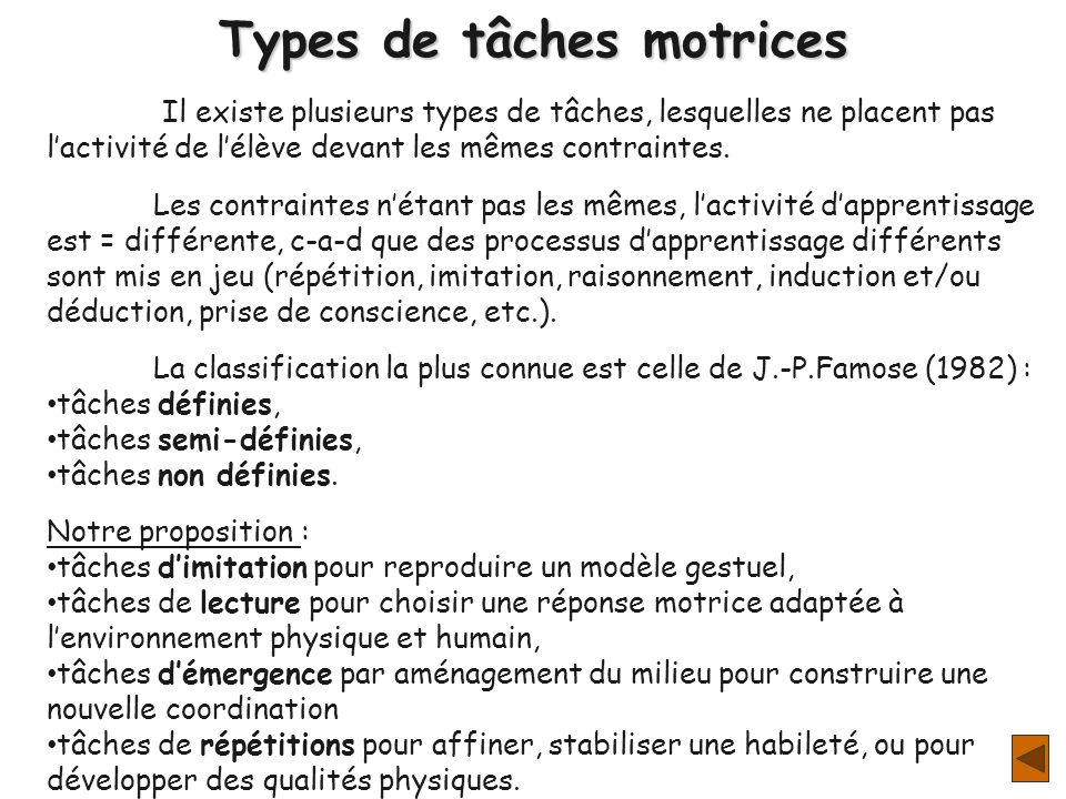 Types de tâches motrices