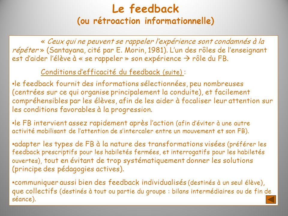 Le feedback (ou rétroaction informationnelle)